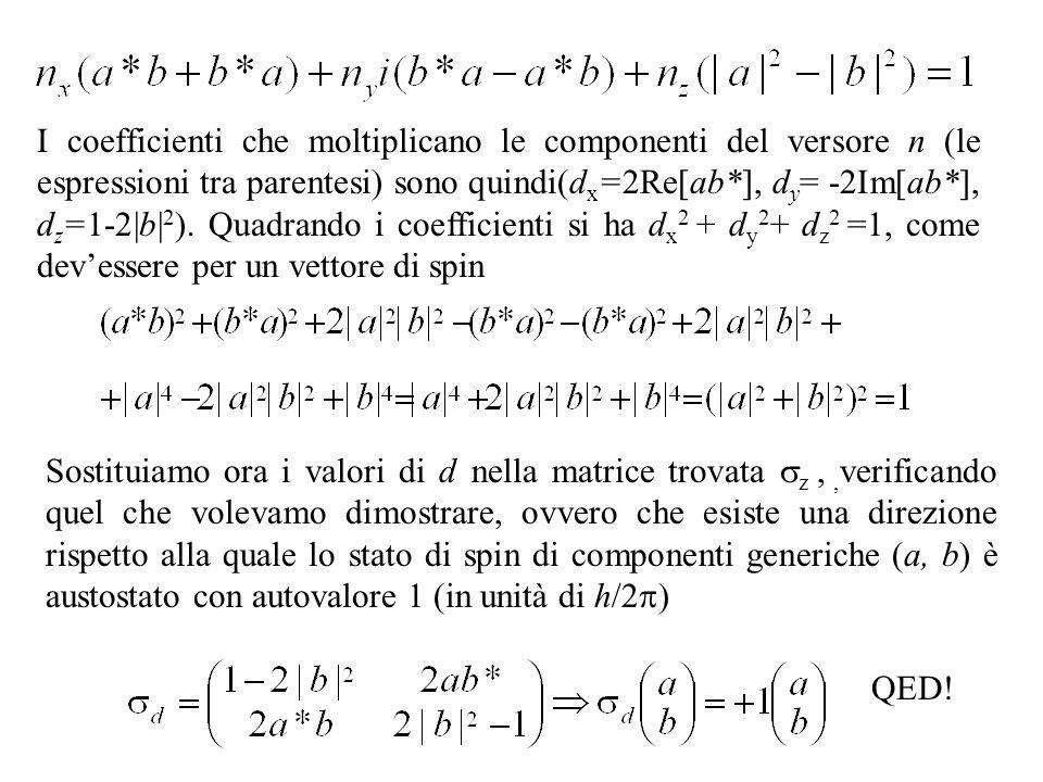 I coefficienti che moltiplicano le componenti del versore n (le espressioni tra parentesi) sono quindi(dx=2Re[ab*], dy= -2Im[ab*], dz=1-2|b|2). Quadrando i coefficienti si ha dx2 + dy2+ dz2 =1, come dev'essere per un vettore di spin